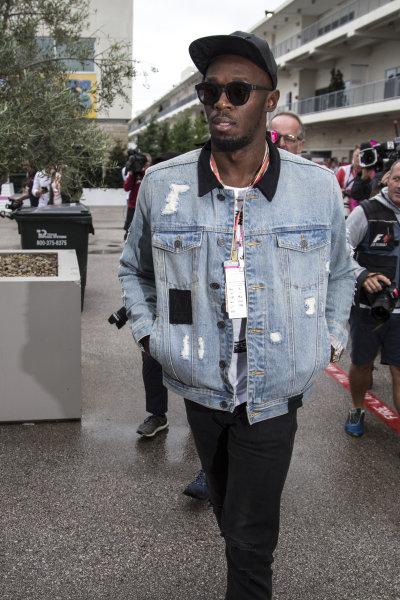 Usain Bolt (JAM) at Formula One World Championship, Rd17, United States Grand Prix, Race, Circuit of the Americas, Austin, Texas, USA, Sunday 22 October 2017.