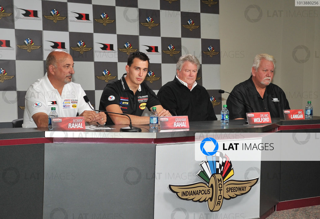 Novemeber 14, 2012, Indianapolis Motoer Speedway, Speedway, Indiana, USA Graham and Bobby Rahal with Orland Wolford and Mike Lanigan at presentation of Graham as RLLR new driver for 2013.(c)2012 Dan R. Boyd LAT photo USA