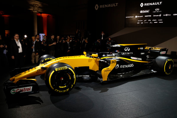 Renault  RS17  Formula 1 Launch. The Lindley Hall, London, UK. Tuesday 21 February 2017. The R.S.17 is launched. World Copyright: Glenn Dunbar/LAT Images Ref: _X4I9914