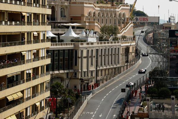 Monte Carlo, Monaco. Thursday 25 May 2017. Kevin Magnussen, Haas VF-17 Ferrari, leads Sergio Perez, Force India VJM10 Mercedes, and Lance Stroll, Williams FW40 Mercedes. World Copyright: Glenn Dunbar/LAT Images ref: Digital Image _X4I1242