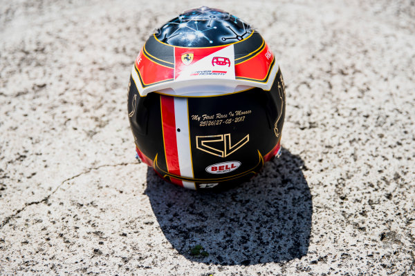 2017 FIA Formula 2 Round 3. Monte Carlo, Monaco. Wednesday 24 May 2017. A one off helmet for Charles Leclerc (MCO, PREMA Racing). Photo: Zak Mauger/FIA Formula 2. ref: Digital Image _54I4791