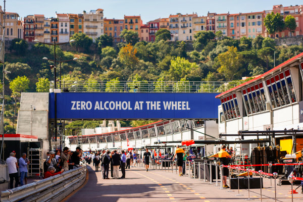 Monte Carlo, Monaco. Wednesday 24 May 2017. The pit lane. World Copyright: Sam Bloxham/LAT Images ref: Digital Image _W6I9831
