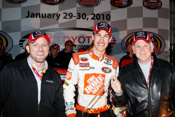 29-30 January, 2010, Irwindale, California USAJoey Logano in Victory Lane with Scot Smith and Les Unger from Toyota Motor Sales©2010 Lesley Ann Miller, USALAT Photographic