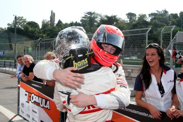 Second placed Josef Kral (CZE), right, congratulates JD Motorsport team mate Sergey Afanasiev (RUS), left, who finished third.International Formula Master, Rd8, Imola, San Marino, Italy, 20 September 2009.