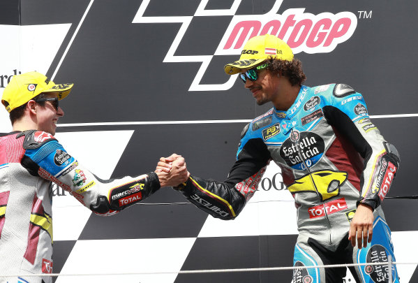 2017 Moto2 Championship - Round 11 Spielberg, Austria Sunday 13 August 2017 Podium: Alex Marquez, Marc VDS, Mortbidelli and Franco Morbidelli, Marc VDS World Copyright: Gold and Goose / LAT Images ref: Digital Image 686844