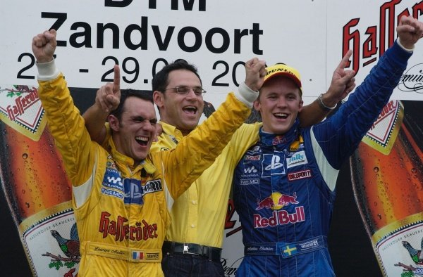 Double success for the Abt-Team with a win for Mattias Ekstrom (SWE), right, and the 2002 championship won by Laurent Aiello (FRA), left. Team Abt Sportsline team manager Hans-Jurgen Abt (GER).