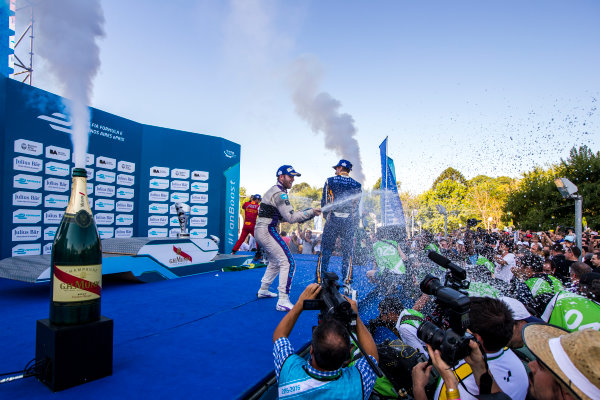 2015/2016 FIA Formula E Championship. Buenos Aires ePrix, Buenos Aires, Argentina. Saturday 6 February 2016. Sam Bird (GBR), DS Virgin Racing DSV-01, Sebastien Buemi (SUI), Renault e.Dams Z.E.15 and Lucas Di Grassi (BRA), ABT Audi Sport FE01. Photo: Zak Mauger/LAT/Formula E ref: Digital Image _L0U1715