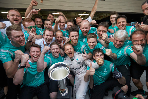 Shanghai International Circuit, Shanghai, China. Sunday 17 April 2016. Nico Rosberg, Mercedes AMG, 1st Position, and the Mercedes team celebrate victory after the race. World Copyright: Steve Etherington/LAT Photographic ref: Digital Image SNE22042