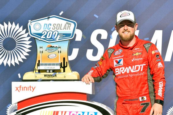 2017 NASCAR Xfinity Series DC Solar 200 Phoenix International Raceway, Avondale, AZ USA Saturday 18 March 2017 Justin Allgaier celebrates his win in Victory Lane World Copyright: Nigel Kinrade/LAT Images ref: Digital Image 17PHX1nk06494