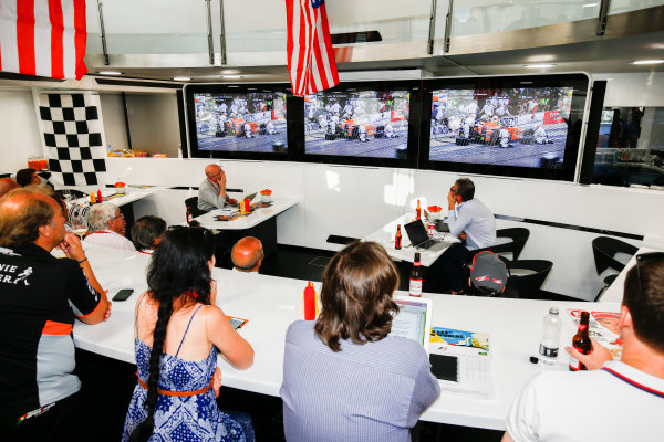 Monte Carlo, Monaco. Sunday 28 May 2017. The McLaren team lay on an American celebration to celebrate the efforts of their driver Fernando Alonso in the Indy 500. World Copyright: Andy Hone/LAT Images ref: Digital Image _ONZ0957