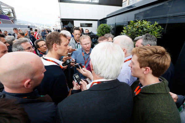 Monte Carlo, Monaco. Thursday 21 May 2015. Alexander Wurz talks to the media about the Global Fan Survey. World Copyright: Alastair Staley/LAT Photographic. ref: Digital Image _79P0319