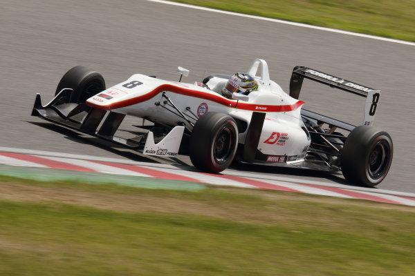 2015 Japanese Formula 3 Championship. Suzuka, Japan. 18th - 19th April 2015. Rd 1 & 2. Rd.1 3rd position Tsubasa Takahashi ( #8 HFDP RACING F312 ) action World Copyright: Yasushi Ishihara/LAT Photographic. Ref: 2015JF3_Rd1&2_008