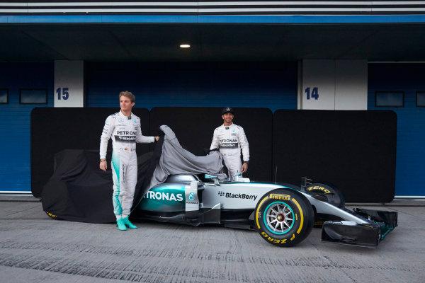 2015 F1 Pre Season Test 1 - Day 1 Circuito de Jerez, Jerez, Spain. Sunday 1 February 2015. Nico Rosberg, Mercedes AMG, and Lewis Hamilton, Mercedes AMG, launch the Mercedes W06. World Copyright: Steve Etherington/LAT Photographic. ref: Digital Image SNE26131