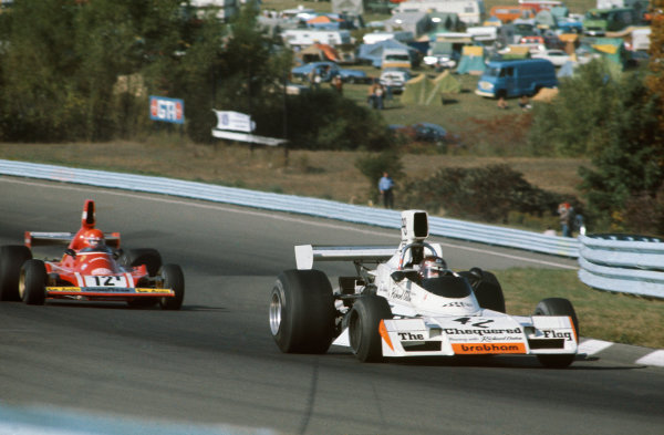 Watkins Glen, New York State, United States. 6 October 1974.Ian Ashley, Brabham-Ford BT42, DNQ, leads Niki Lauda, Ferrari 312B3, retired, action. World Copyright: LAT Photographic.Ref:  74USA31.