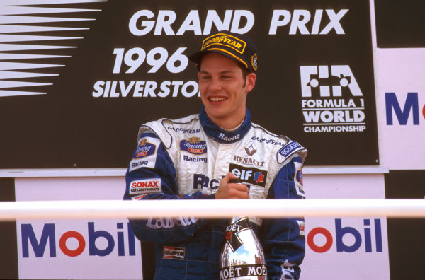 Silverstone, England.12-14 July 1996.Jacques Villeneuve (Williams FW18 Renault) 1st position on the podium.Ref-96 GB 04.World Copyright - LAT Photographic