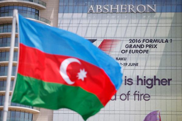 Baku City Circuit, Baku, Azerbaijan. Saturday 18 June 2016. The Azerbaijani flag flies in front of the race logo. World Copyright: Glenn Dunbar/LAT Photographic ref: Digital Image _W2Q8114