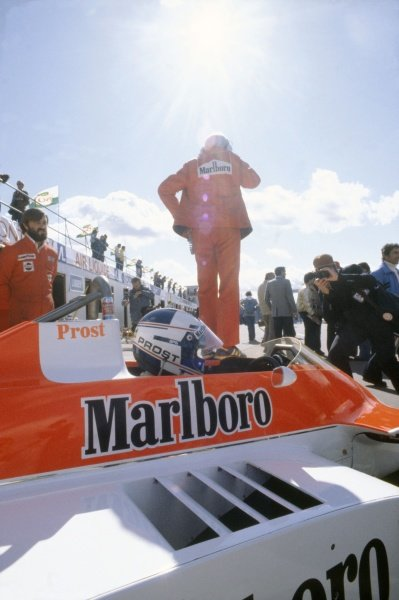 1980 Canadian Grand Prix.Montreal, Canada. 26-28 September 1980.Alain Prost (McLaren M30-Ford Cosworth), retired. In the pits with Teddy Mayer in the background.World Copyright: LAT PhotographicRef: 35mm transparency 80CAN24
