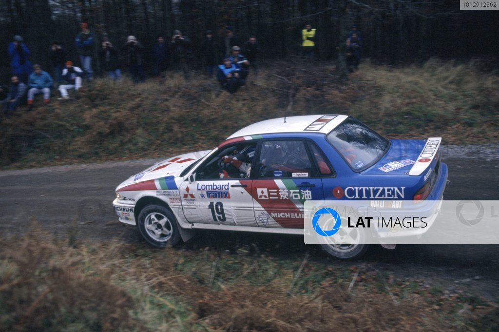 1989 World Rally Championship.Lombard RAC Rally, Great Britain. 19-23 November 1989.Pentti Airikkala/Ronan McNamee (Mitsubishi Galant VR-4), 1st position.World Copyright: LAT PhotographicRef: 35mm transparency 89RALLY10