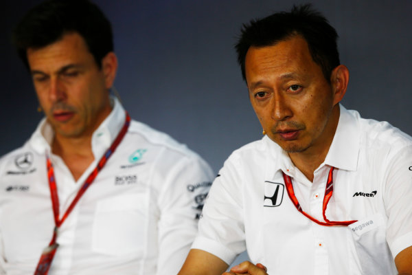 Red Bull Ring, Spielberg, Austria. Friday 07 July 2017. Yusuke Hasegawa, Senior Managing Officer, Honda, and Toto Wolff, Executive Director (Business), Mercedes AMG, in the Friday press conference. World Copyright: Andy Hone/LAT Images ref: Digital Image _ONY9973