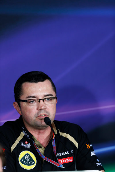 2012 Indian Grand Prix - Friday Buddh International Circuit, New Delhi, India. 26th October 2012. Eric Boullier, Team Principal, Lotus F1, in the Press Conference.  World Copyright:Andrew Ferraro/LAT Photographic ref: Digital Image _79P8431