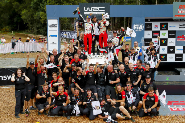 Jari-Matti Latvala and Mikka Anttila, Toyota Gazoo Racing, Celebrate winning the Manufacturers World Championship
