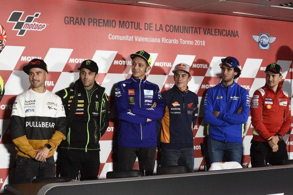 Alvaro Bautista, Angel Nieto Team, Johann Zarco, Monster Yamaha Tech 3, Valentino Rossi, Yamaha Factory Racing, Marc Marquez, Repsol Honda Team, Alex Rins, Team Suzuki MotoGP, Jorge Lorenzo, Ducati Team.