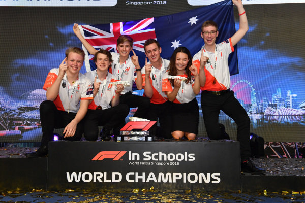 F1 in Schools World Champions Team Horizon celebrate at F1 in Schools World Finals, Resorts World Sentosa, Singapore, Wednesday 12 September 2018.