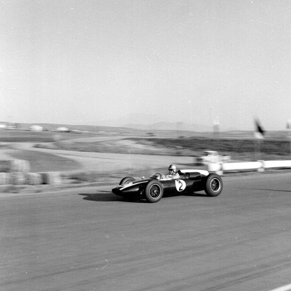 1960 United States Grand Prix.Riverside, California, USA.18-20 November 1960.Jack Brabham (Cooper T53 Climax) 4th position. Ref-7473.World Copyright - LAT Photographic