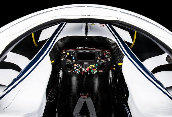 The new Alfa Romeo Sauber C37 cockpit and steering wheel, Hinwil, Switzerland, 20 February 2018.