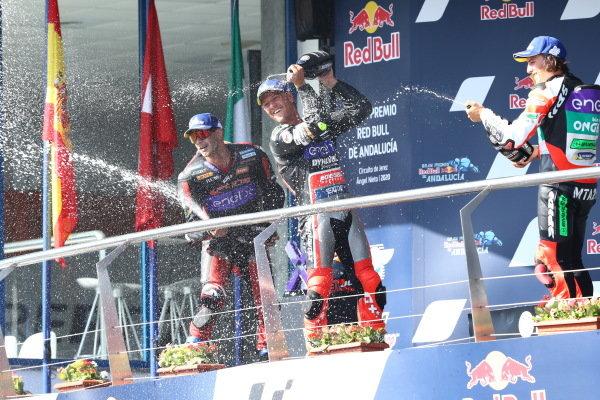 Podium: race winner Dominique Aegerter, Dynavolt Intact GP, second place Jordi Torres, Pons Racing 40, third place Mattia Casadei, Ongetta SIC58 Squadracorse.