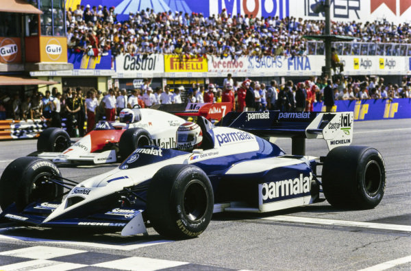Nelson Piquet, Brabham BT53 BMW, sits on pole, ahead of Alain Prost, McLaren MP4-2 TAG.