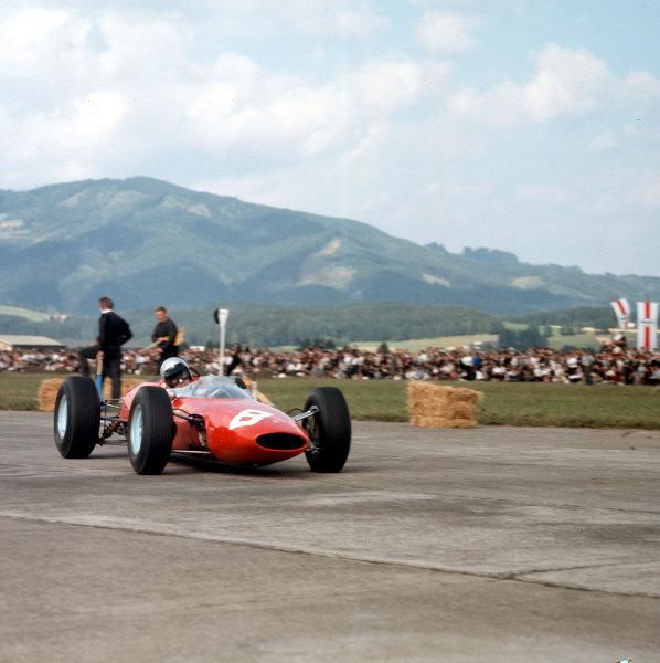 1964 Austrian Grand Prix.Zeltweg, Austria.21-23 August 1964.Lorenzo Bandini (Ferrari 156) 1st position for his maiden and only Grand Prix win.Ref-1398.World Copyright - LAT Photographic