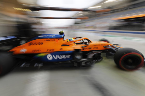 Lando Norris, McLaren MCL35, leaves the garage