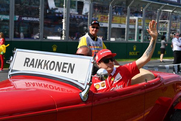 Kimi Raikkonen (FIN) Ferrari on the drivers parade at Formula One World Championship, Rd1, Australian Grand Prix, Race, Albert Park, Melbourne, Australia, Sunday 26 March 2017.