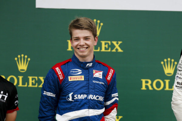 Robert Shwartzman (RUS) PREMA Racing on the podium