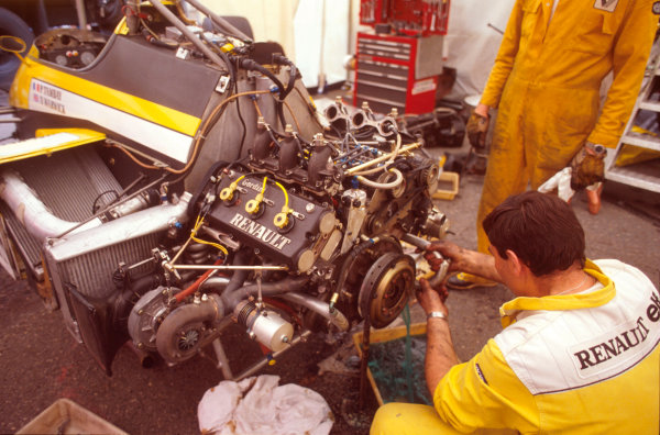 Monte Carlo, Monaco.31/5-3/6 1984.An engineer works on one of the Renault Sport EF4 V6 twin turbocharged engines.Ref-84 MON 39.World Copyright - LAT Photographic