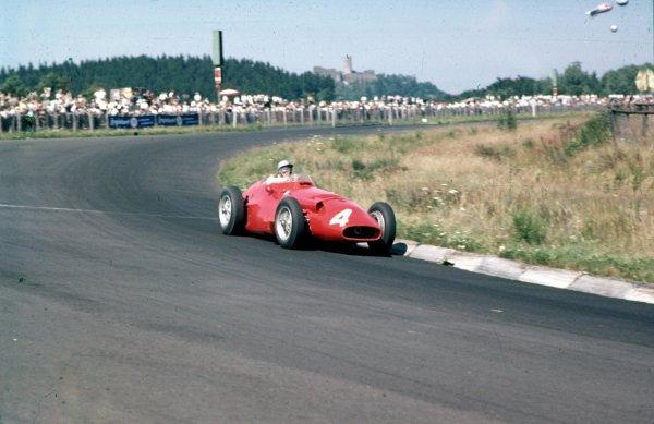 1957 German Grand Prix.Nurburgring, Germany.2-4 August 1957.Giorgio Scarlatti (Maserati 250F) 10th position.Ref-57 GER 11.World Copyright - LAT Photographic