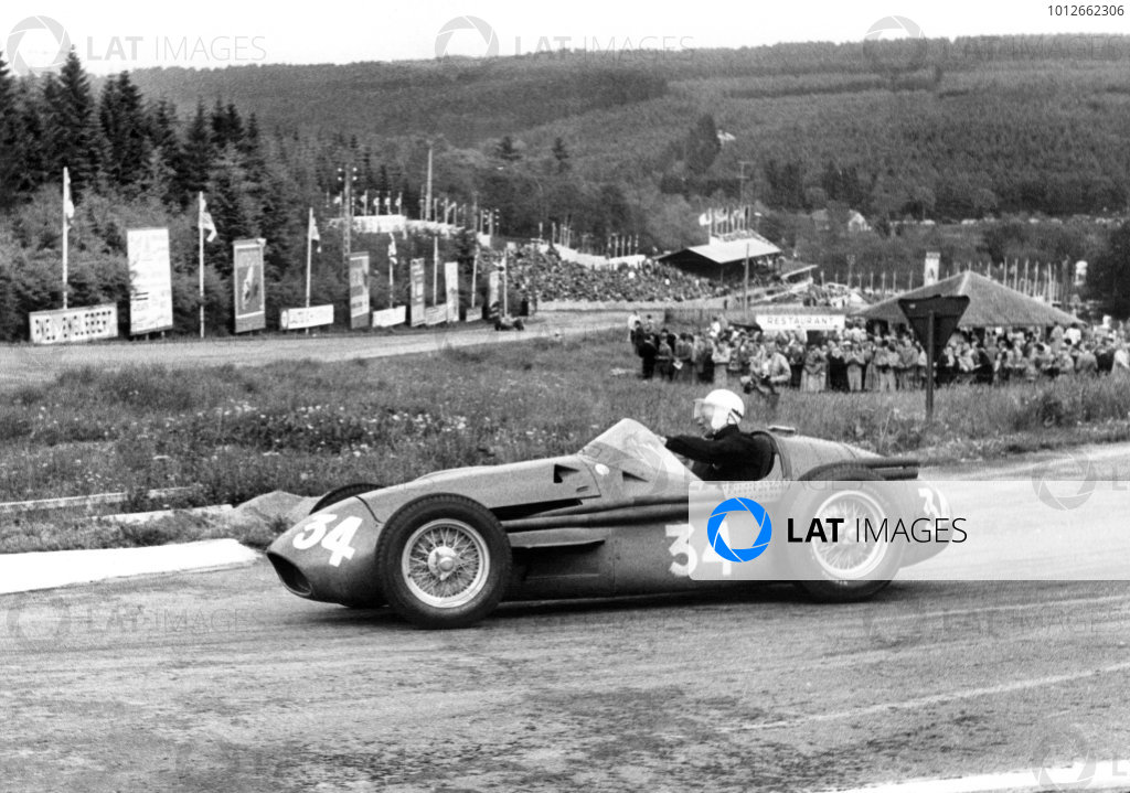 Spa-Francorchamps, Belgium. 3rd June 1956.Stirling Moss (Maserati 250F), 3rd position. Moss took over Cesare Perdisa's car when his own car shed a wheel and retired, action. World Copyright: LAT Photographic.Ref: 6041.