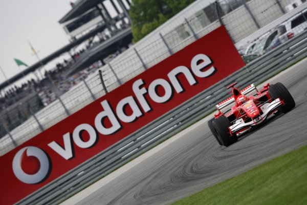 2006 USA Grand Prix - Friday Practice Indianapolis, Indiana, USA. 29th June - 2nd July. Michael Schumacher, Ferrari 248F1, action. World Copyright: Charles Coates/LAT Photographic ref: Digital Image ZK5Y6055