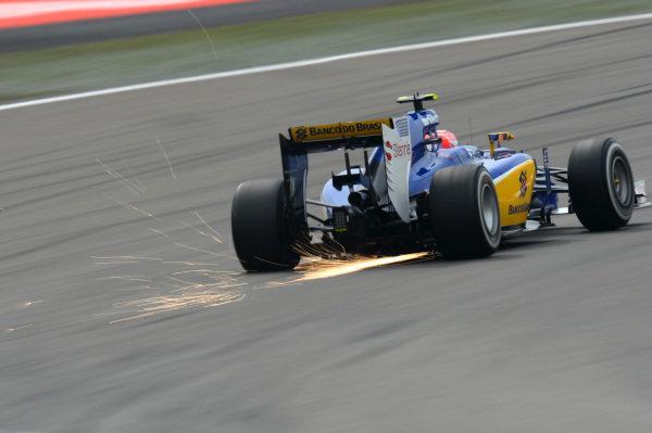 Felipe Nasr (BRA) Sauber C34 throw up some sparks at Formula One World Championship, Rd3, Chinese Grand Prix, Practice, Shanghai, China, Friday 10 April 2015.