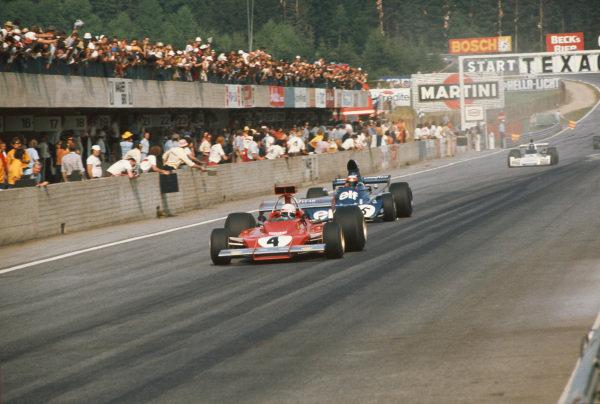 1973 Austrian Grand Prix.  Osterreichring, Austria. 17-19th August 1973.  Arturo Merzario, Ferrari 312B3, leads Jackie Stewart, Tyrrell 006 Ford.  Ref: 73AUT29. World Copyright: LAT Photographic