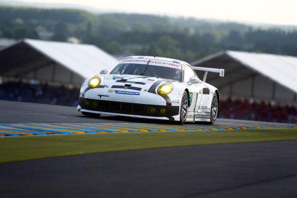 2014 Le Mans 24 Hours. Circuit de la Sarthe, Le Mans, France. Wednesday 11 June 2014.  Marco Holzer/Frederic Makowiecki/Richard Lietz, Porsche Team Manthey, No.92 Porsche 911 RSR.  World Copyright: Adam Warner/LAT Photographic. ref: Digital Image _MG_5383