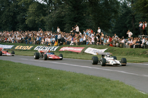 1970 International Gold Cup.  Oulton Park, Cheshire, England. 22nd August 1970.  Jackie Oliver, BRM P153, leads John Surtees, Surtees TS7 Ford, and Jochen Rindt, Lotus 72 Ford.  Ref: 70GC04. World Copyright: LAT Photographic