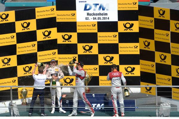 2014 DTM Championship Round 1 - Hockenheim, Germany 3rd - 4th May 2014  Podium, Marco Wittmann (GER) BMW Team RMG, BMW M4 DTM, Mattias Ekström (SWE) Audi Sport Team Abt Sportsline, Audi RS 5 DTM, Adrien Tambay (FRA) Audi Sport Team Abt, Audi RS 5 DTM, World Copyright: XPB Images / LAT Photographic  ref: Digital Image 3083281_HiRes