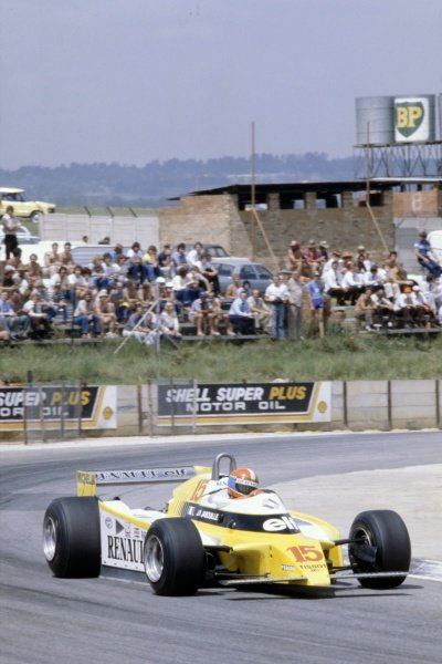 1980 South African Grand Prix.Kyalami, South Africa. 28 February-1 March 1980.Jean-Pierre Jabouille (Renault RE20), retired.World Copyright: LAT PhotographicRef: 35mm transparency 80SA08