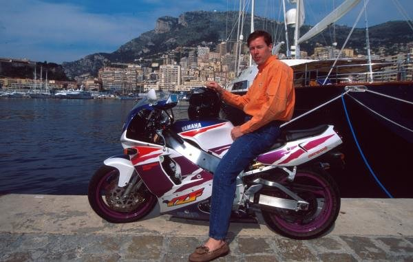 Colin McRae at on his motorbike at home in Monte Carlo.
