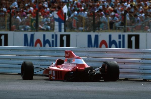 Ths stricken Dallara of Emanuelle Pirro after crashing out German GP, Hockenheim, Germany, 29 July 1990