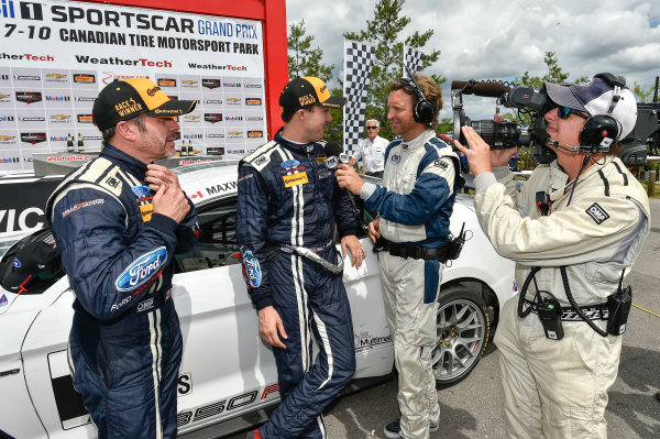 7-9 July 2016, Bowmanville, Ontario Canada 15, Ford, Shelby GT350R-C, GS, Scott Maxwell, Billy Johnson celebrate the win in victory lane ?2016, Scott R LePage  LAT Photo USA