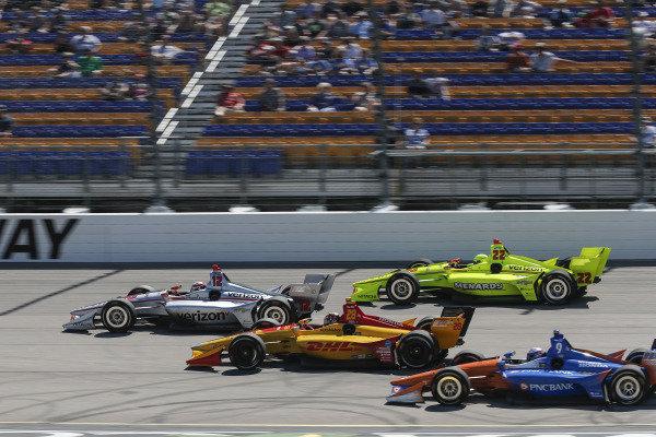 Simon Pagenaud, Team Penske Chevrolet, Will Power, Team Penske Chevrolet, Ryan Hunter-Reay, Andretti Autosport Honda, Scott Dixon, Chip Ganassi Racing Honda