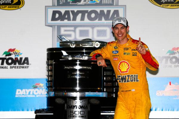 22 February, 2015, Daytona Beach, Florida USA Joey Logano celebrates in victory lane ?2015, Russell LaBounty LAT Photo USA